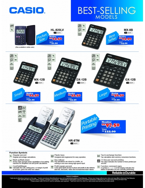 CASIO Calculator-Bestselling Models - PopClub Promotion Issue 51