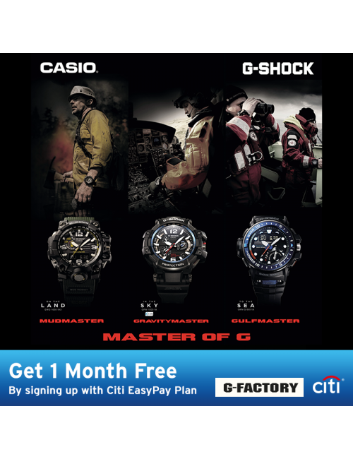 CASIO Timepiece-Check out the *1-month waiver when you purchase any of the MOG series and take up the 12-months installment! Only for Citibank cardholders; promotion ends 30th September 2017.