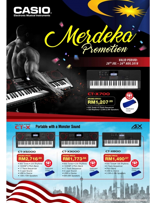 Casio Musical Instruments-Come and celebrate Merdeka Pormotion! More savings and free gift awaits you! T & C apply.