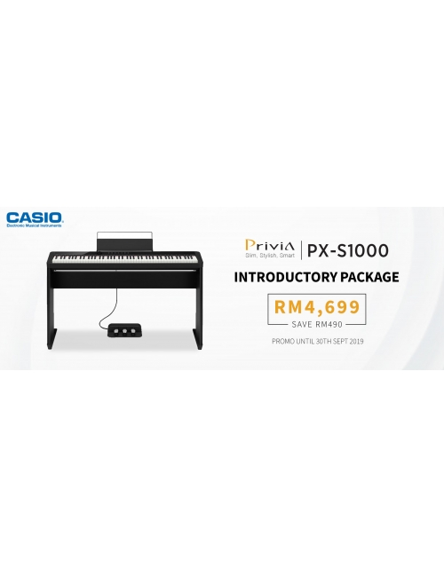Casio Musical Instruments -Privia PX-S1000 Introductory Package Promotion at RM4,699 (RSP RM5,189)