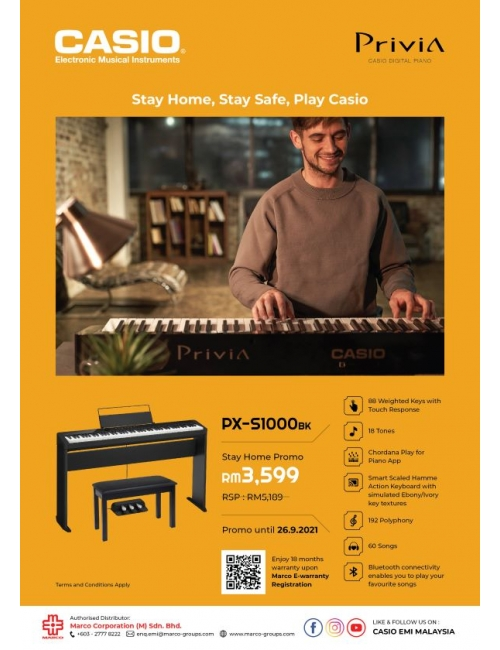 Musical Instruments-Stay Home Promo-Stay Home, Stay Safe, Play Casio Privia PX-S1000 at home at RM3,599 (RSP RM5,189) !