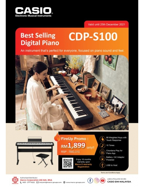 Musical Instruments - CDP-S100 FireUp Promo RM1,899 Only!-Casio Best Selling Digital Piano CDP-S100